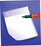 钢笔和便笺簿 库存照片