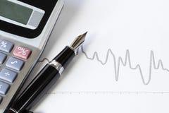 钢笔和股票图 免版税库存照片