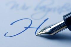 钢笔文字 免版税库存图片