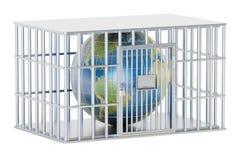 钢笼子,与地球地球的监狱牢房 3d翻译 库存例证