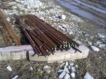 钢筋混凝土的金属配件 库存图片