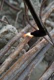 钢管切口有乙炔火炬的 库存图片