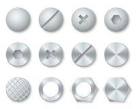 钢螺丝,坚果,螺栓,铆钉头传染媒介集合 库存例证