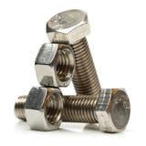 钢螺栓的螺母 免版税库存照片