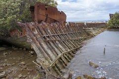 钢被去壳的船击毁,加登岛,口岸阿德莱德, SA 免版税库存照片