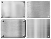 钢金属板或标志板设置了与铆钉 免版税库存照片