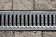 钢金属灰色镀锌了排水设备c被镀锌的排水设备花格  免版税库存图片