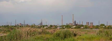 钢铁厂工厂全景 库存照片