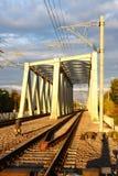 钢铁路桥 免版税图库摄影