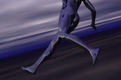 钢青色高科技赛跑者 免版税库存照片
