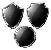 钢黑色集合的盾 向量例证