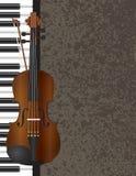 钢琴和小提琴乐弓与背景例证 免版税库存照片
