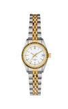 钢-在与裁减路线的白色隔绝的金手表 免版税库存图片