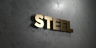 钢-在光滑的大理石墙壁登上的金标志- 3D回报了皇族自由储蓄例证 免版税库存图片