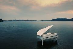 钢琴在湖 免版税库存照片