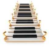 钢琴楼梯和笔记 免版税库存图片