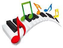 钢琴波浪键盘和音乐笔记3D Illustratio 免版税库存图片