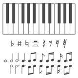 钢琴钥匙和笔记传染媒介例证 免版税库存照片
