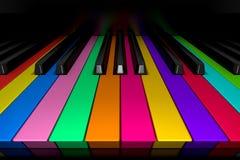 钢琴钥匙和颜色 免版税库存图片
