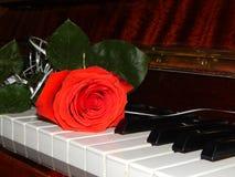 钢琴锁上花音乐 免版税图库摄影