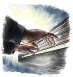 钢琴playng 免版税库存照片