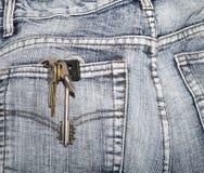 钥匙串在牛仔裤的一个臀部口袋的 图库摄影