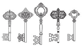 钥匙古色古香的收藏设置了2 图库摄影