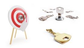 钥匙在一个白色背景3D例证, 3D设置了翻译 免版税库存照片