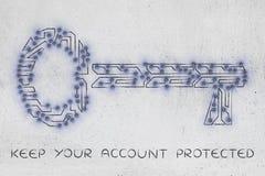 钥匙由电子微集成电路电路、密码和安全制成 免版税库存照片