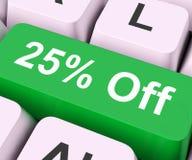 钥匙的百分之二十五意味折扣或销售 库存照片