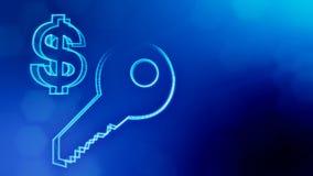 钥匙美元的符号和象征  光亮微粒财务背景  3D与景深的圈动画, bokeh 皇族释放例证