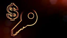 钥匙美元的符号和象征  光亮微粒财务背景  3D与景深的圈动画, bokeh 库存例证