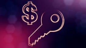 钥匙美元的符号和象征  光亮微粒财务背景  3D与景深的圈动画, bokeh 向量例证