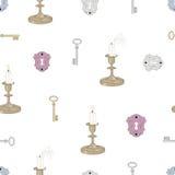 钥匙蜡烛和锁无缝的样式 库存照片