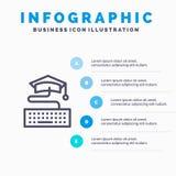 钥匙,键盘,教育,毕业蓝色Infographics模板5步 传染媒介线象模板 向量例证