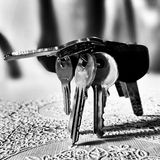 钥匙 在黑白的艺术性的神色 免版税库存图片