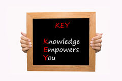 钥匙-知识授权您 免版税库存图片