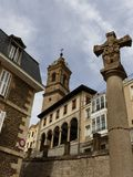 钦琼特佩克火山教会在Vitoria,西班牙,欧洲 库存照片
