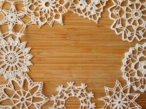 钩针编织的雪剥落 库存照片