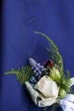 钮扣眼上插的花和翻领 库存图片