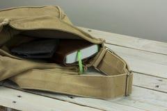 钱包和书在一个开放袋子 库存图片