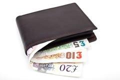 钱包和现金 库存图片