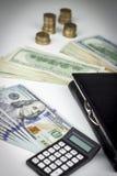 钱包和美元 免版税库存照片