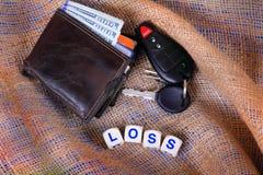 钱包和钥匙损失 库存照片