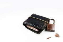 钱包和锁有白色背景 图库摄影