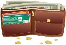 钱包和货币 免版税图库摄影