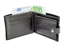 钱包和100欧元钞票 免版税库存图片