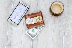 钱包咖啡,在桌上的手机 免版税库存照片