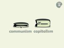 钱包在共产主义和资本主义之间的金钱比较 库存图片