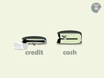 钱包在支付信用和付现金之间的金钱比较 库存照片